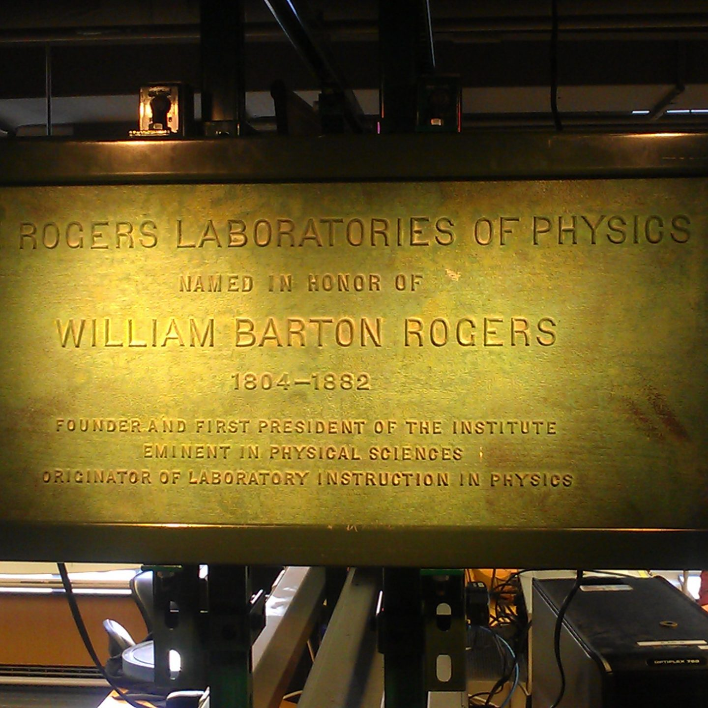 [Nov '12] Junior Lab Sign Mounting: The Rogers Laboratories of Physics Brass Sign